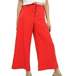 DO+BE Red Wide Leg Lace Up Flare Pants